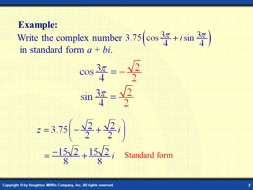 Example: Standard Form of a Complex Number in Radians