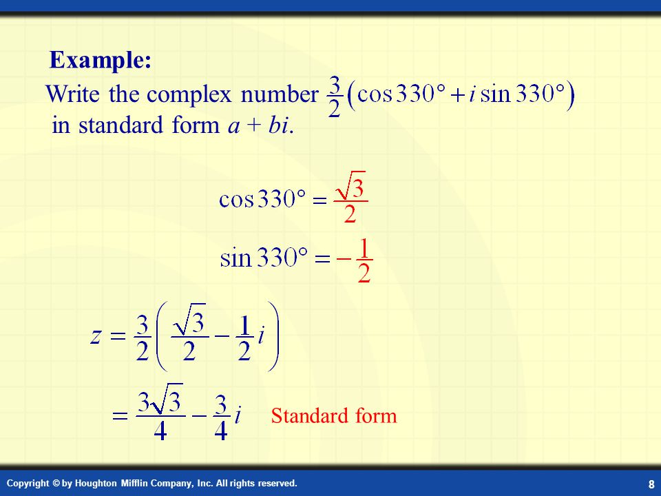 Example: Standard Form of a Complex Number in Degrees