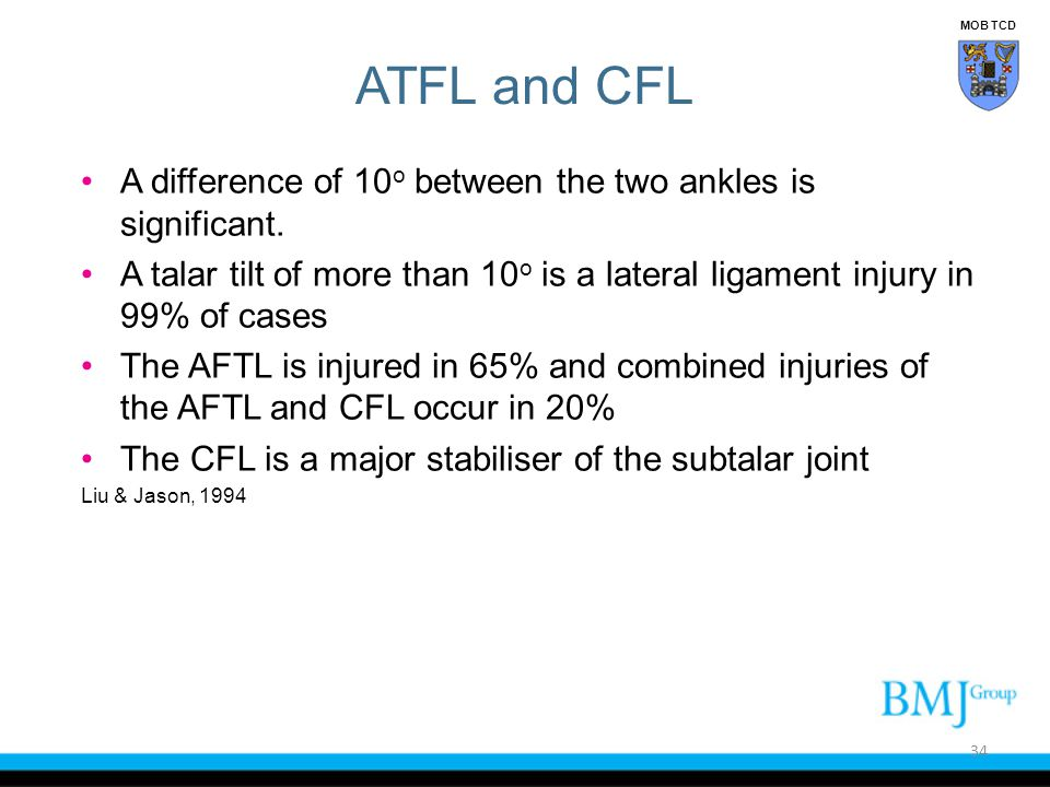 MOB TCD ATFL and CFL. A difference of 10o between the two ankles is significant.