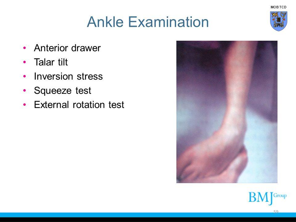 Ankle Examination Anterior drawer Talar tilt Inversion stress