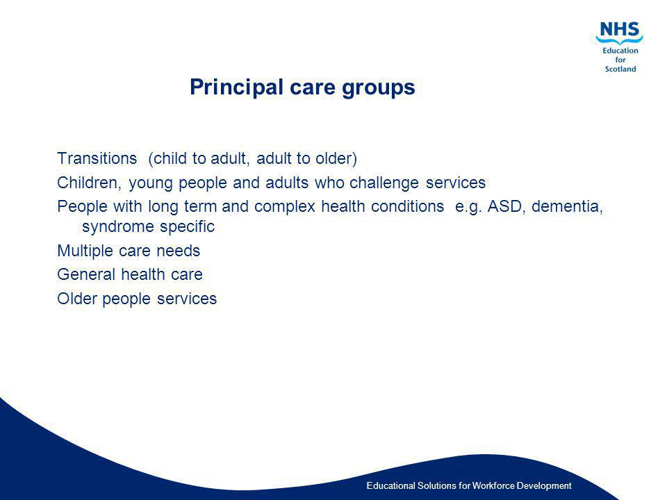 Principal care groups Transitions (child to adult, adult to older)
