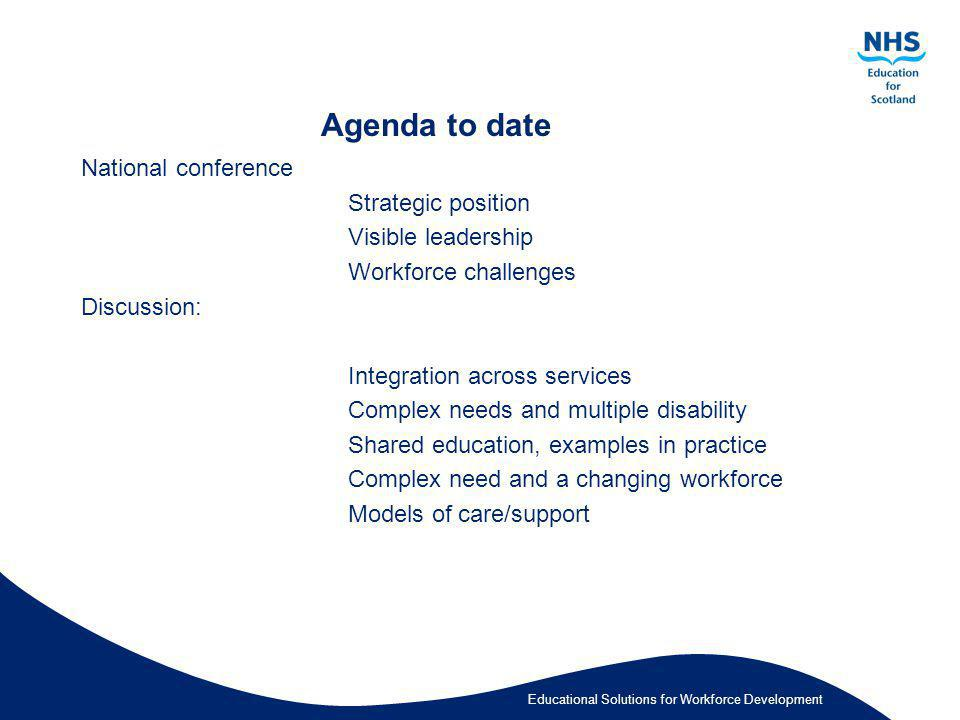 Agenda to date National conference Strategic position