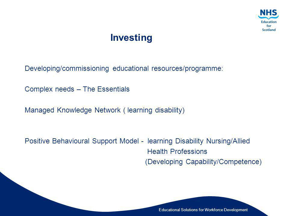 Investing Developing/commissioning educational resources/programme: