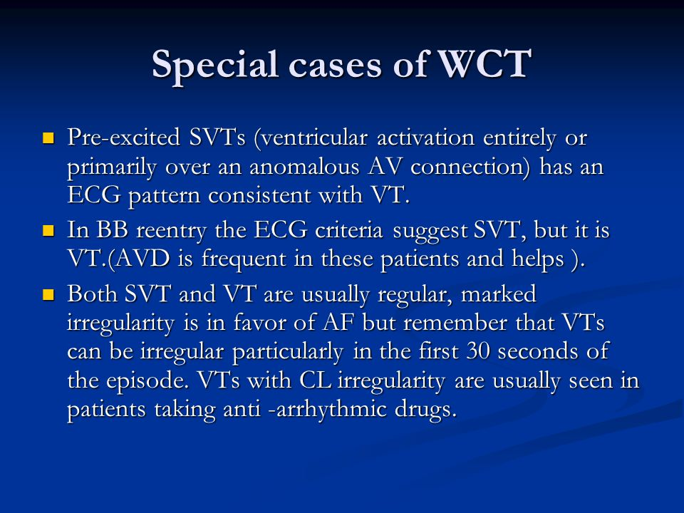 Special cases of WCT