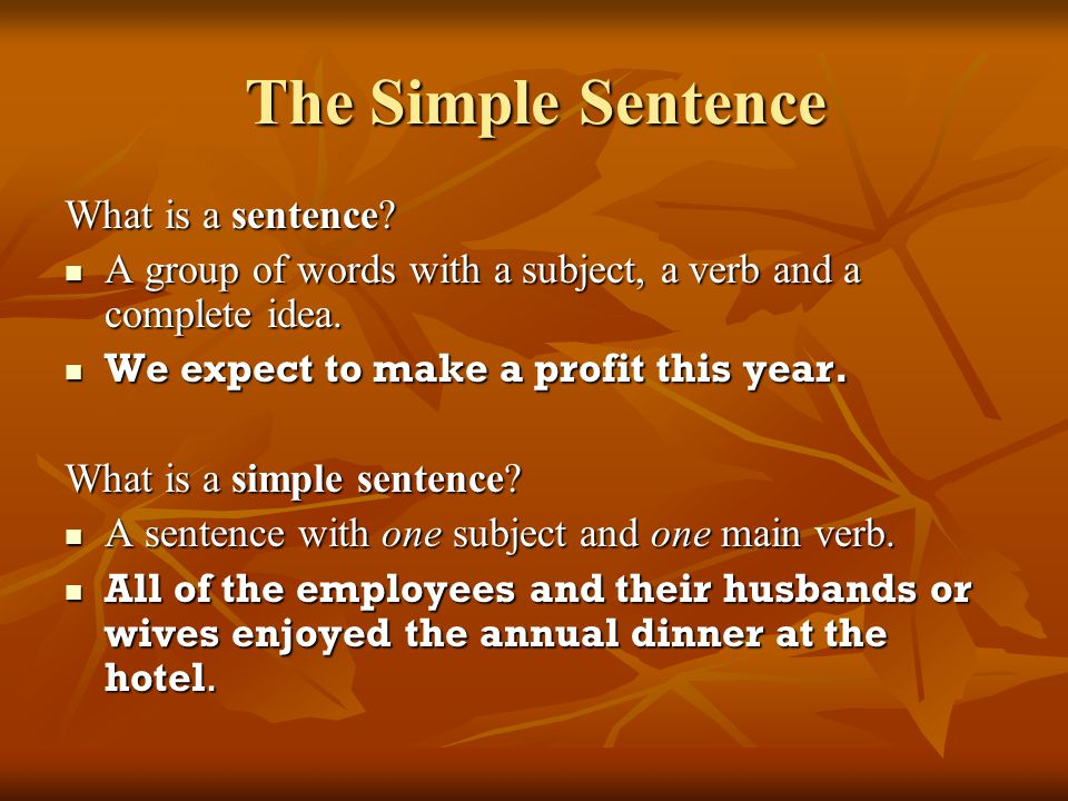 The Simple Sentence What is a sentence