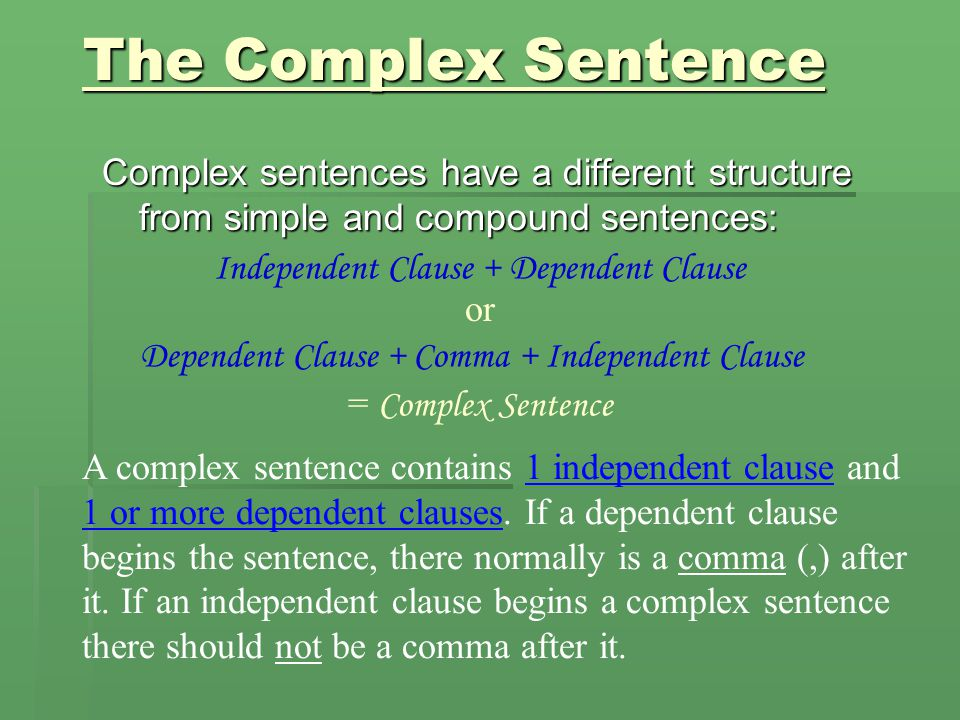 The Complex Sentence Complex sentences have a different structure from simple and compound sentences: