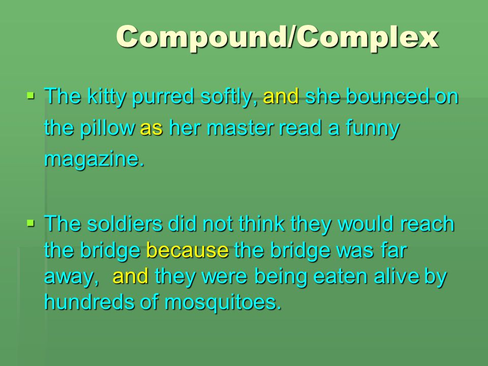 Compound/Complex The kitty purred softly, and she bounced on the pillow as her master read a funny magazine.