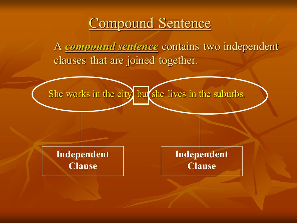 Compound Sentence A compound sentence contains two independent clauses that are joined together.