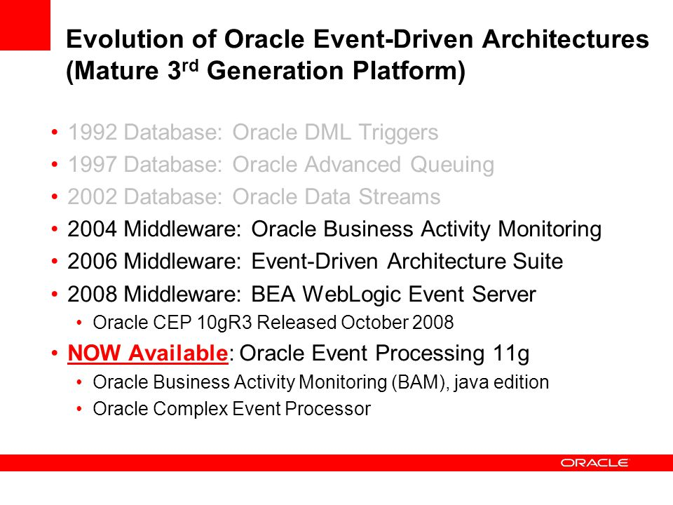 Evolution of Oracle Event-Driven Architectures (Mature 3rd Generation Platform)