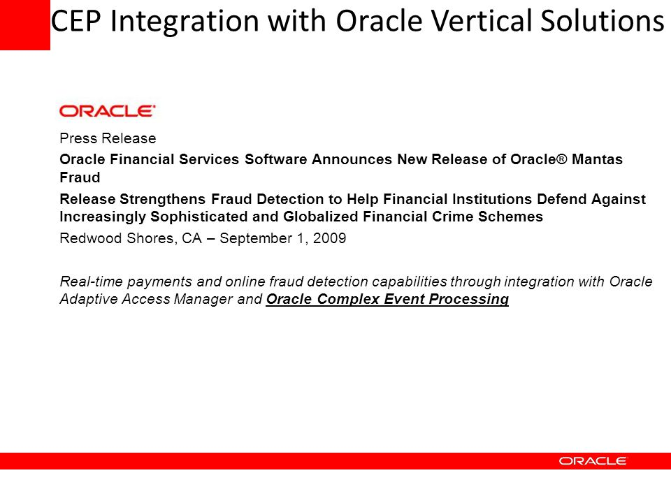 CEP Integration with Oracle Vertical Solutions