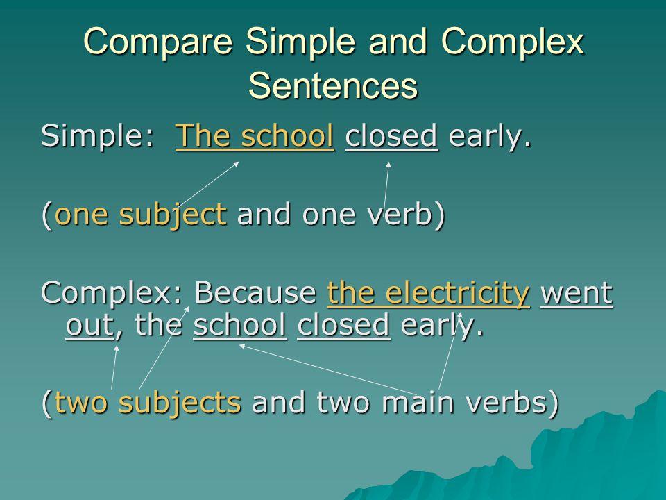 Compare Simple and Complex Sentences