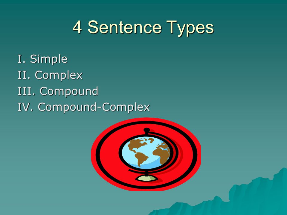 4 Sentence Types I. Simple II. Complex III. Compound