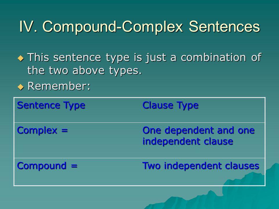 IV. Compound-Complex Sentences