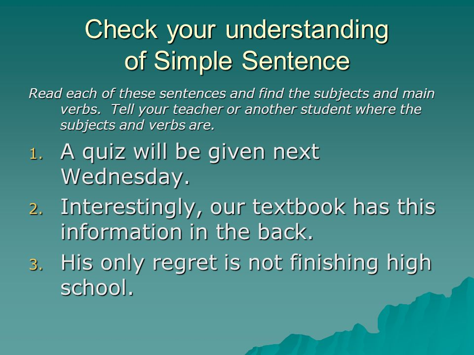 Check your understanding of Simple Sentence