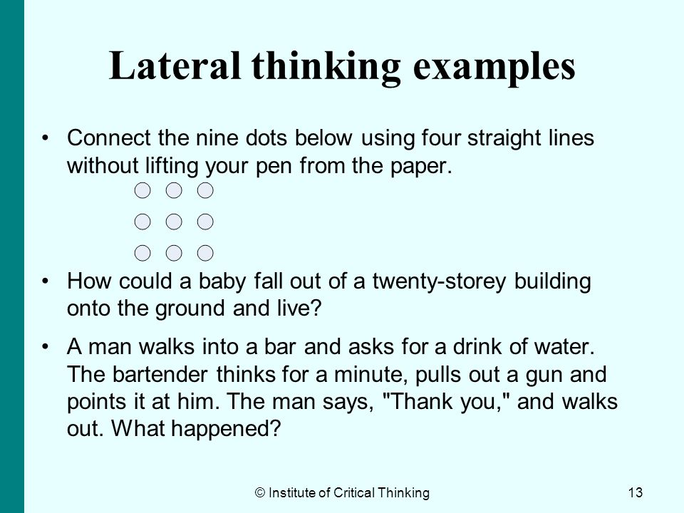 Lateral thinking examples