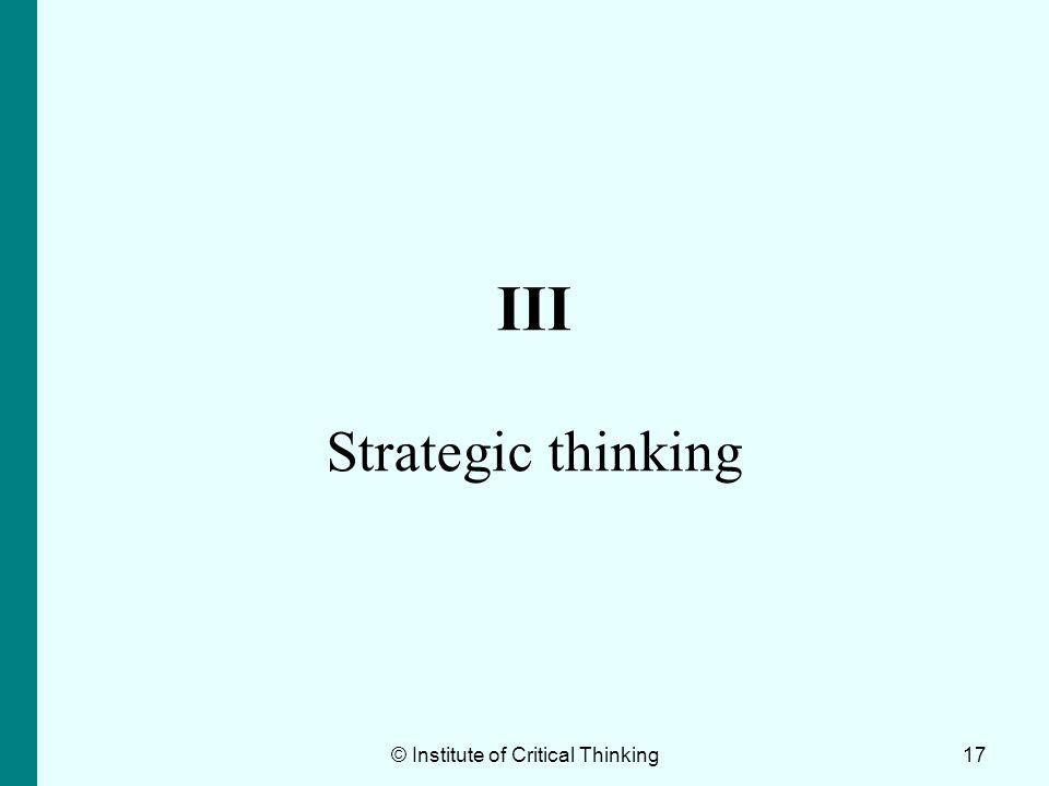 III Strategic thinking