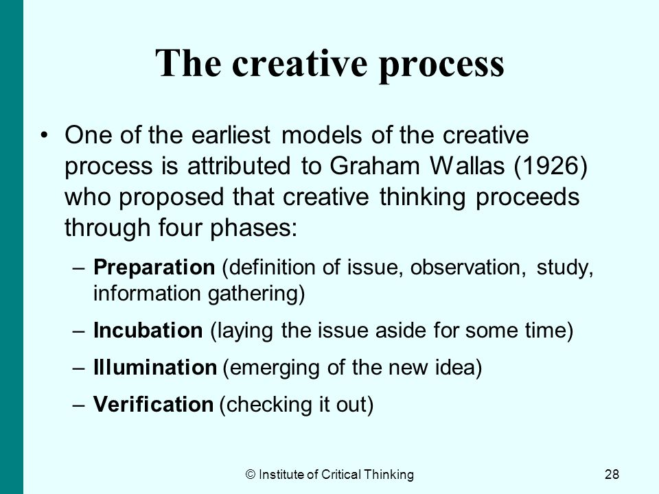 The definition of creativity and the stages of the process of creation