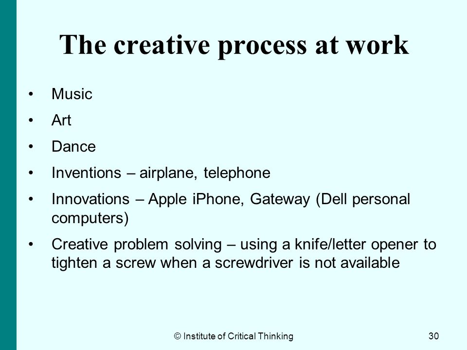The creative process at work
