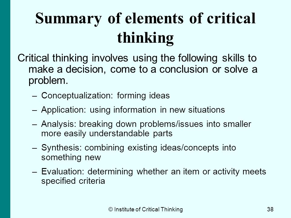 Summary of elements of critical thinking