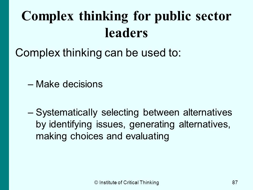 Complex thinking for public sector leaders