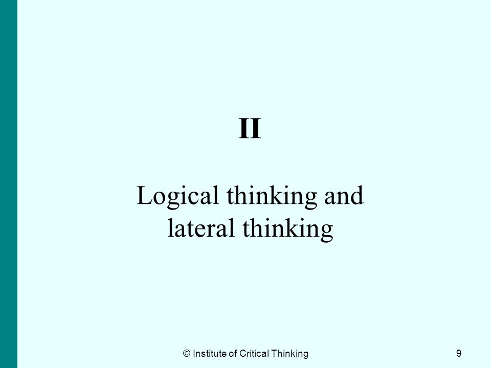 II Logical thinking and lateral thinking