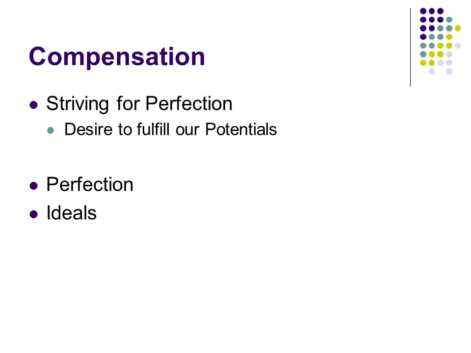Compensation Striving for Perfection Perfection Ideals