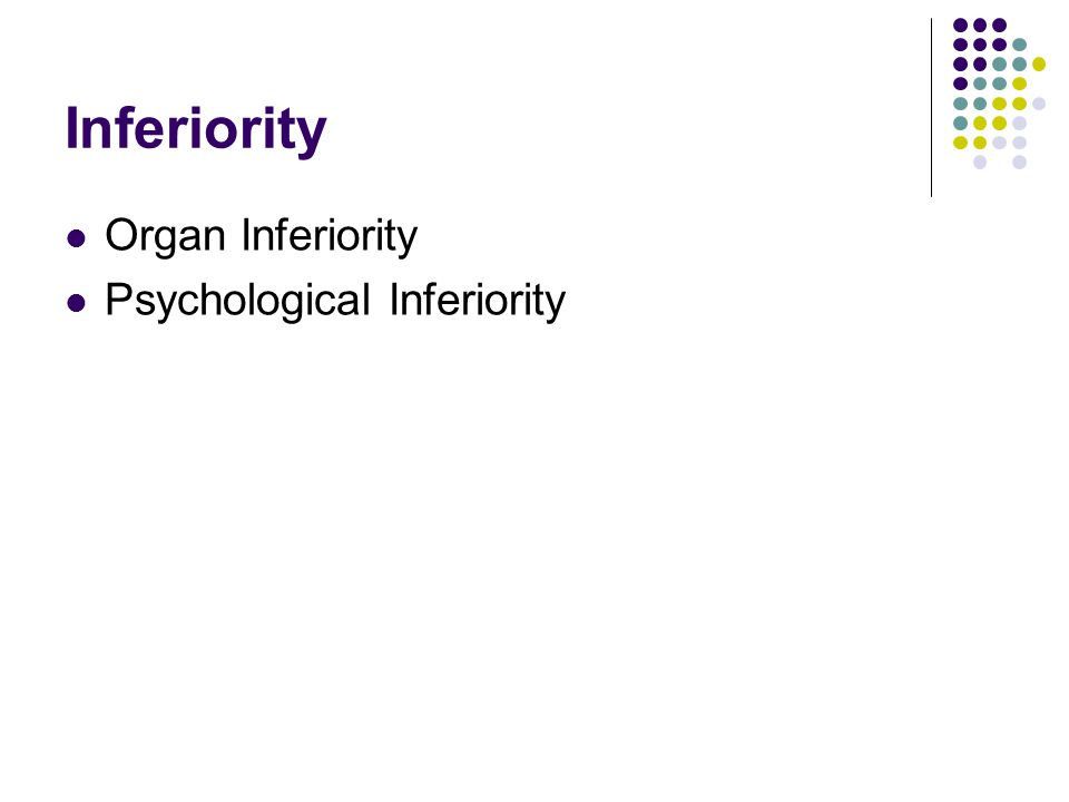 Inferiority Organ Inferiority Psychological Inferiority