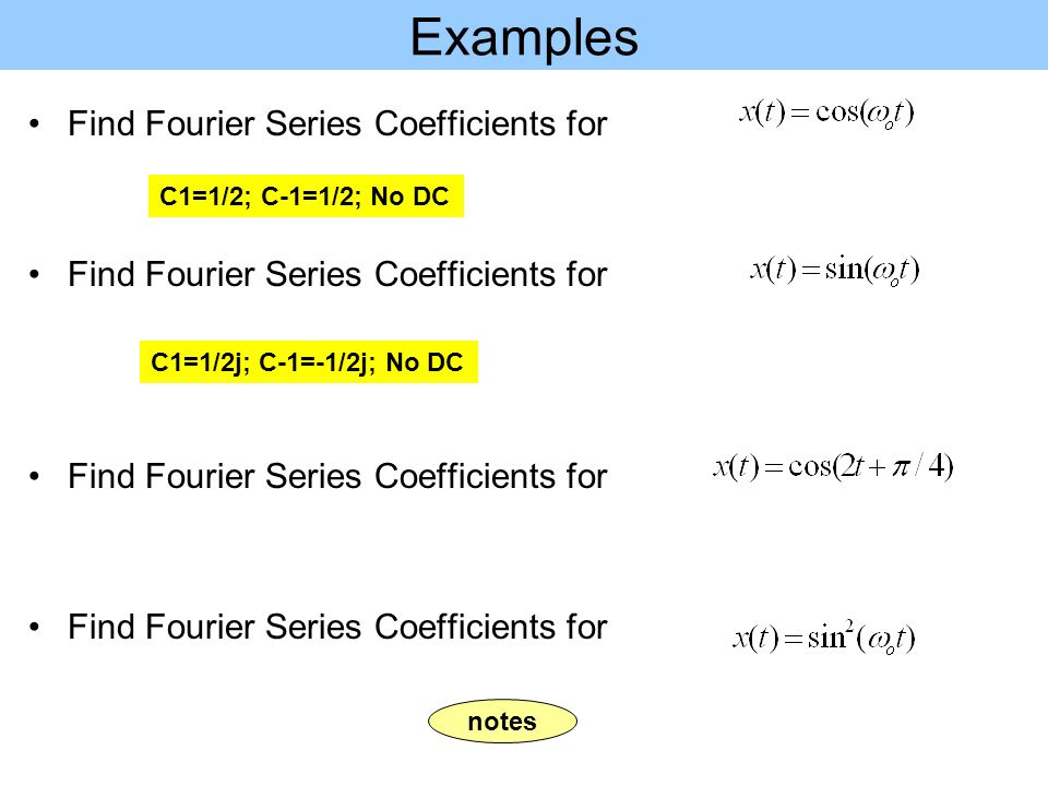 Examples Find Fourier Series Coefficients for C1=1/2; C-1=1/2; No DC