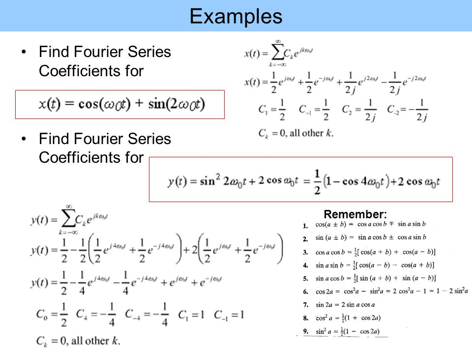Examples Find Fourier Series Coefficients for Remember: