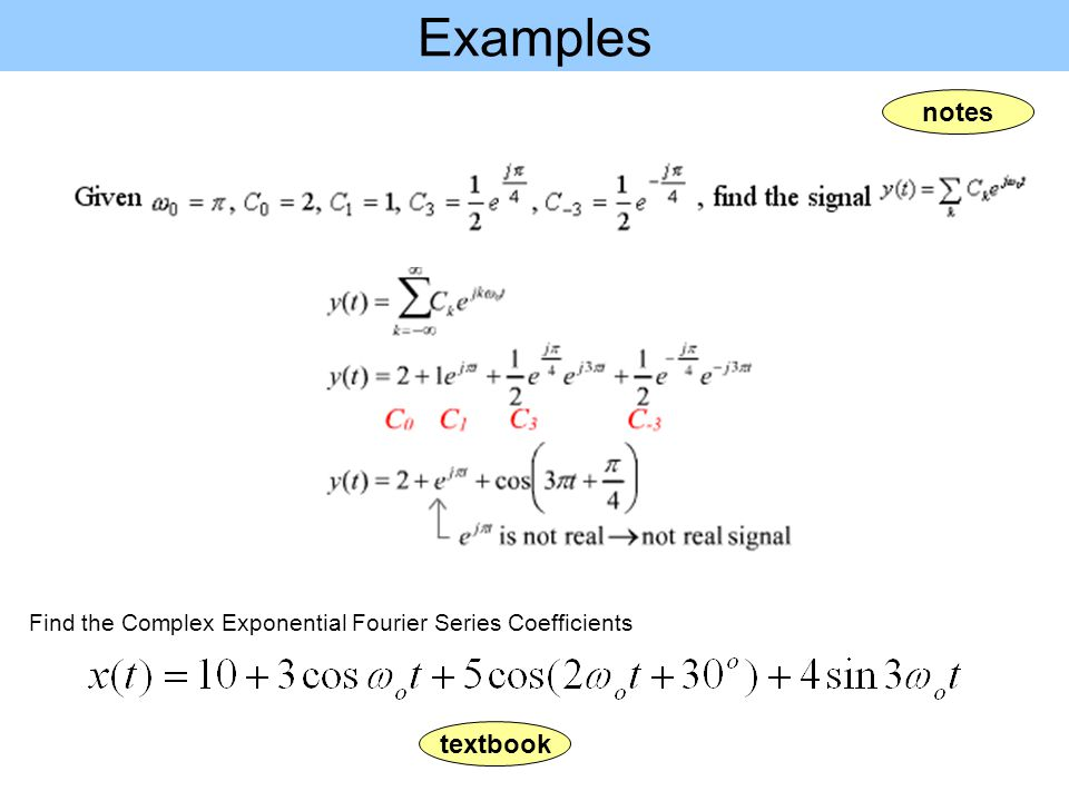 Examples notes textbook
