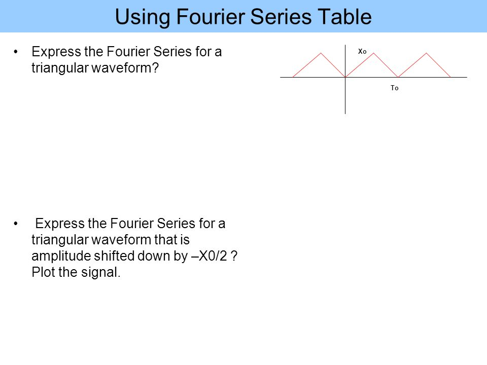 Using Fourier Series Table