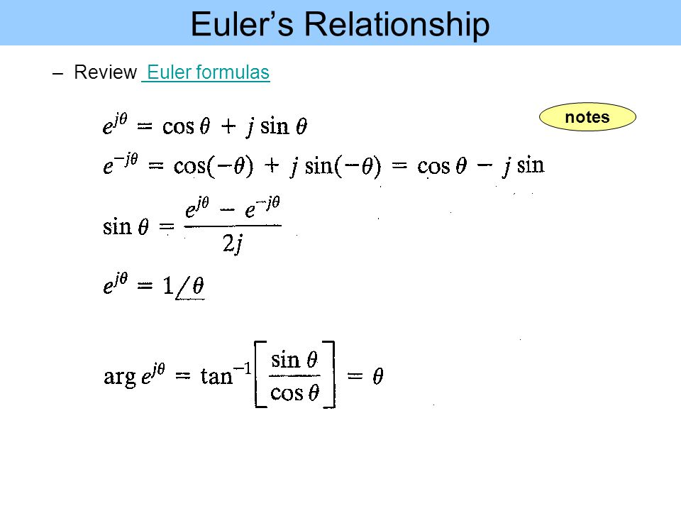 Euler's Relationship Review Euler formulas notes