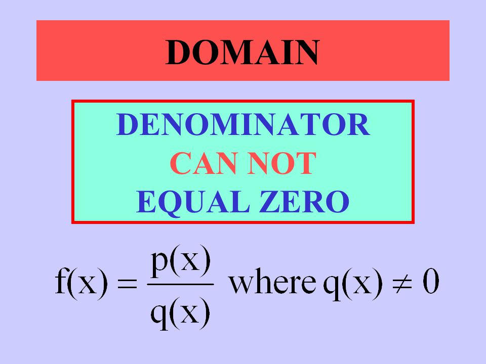 DENOMINATOR CAN NOT EQUAL ZERO