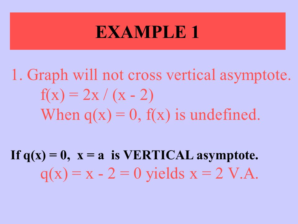 EXAMPLE 1 1. Graph will not cross vertical asymptote. f(x) = 2x / (x - 2) When q(x) = 0, f(x) is undefined.