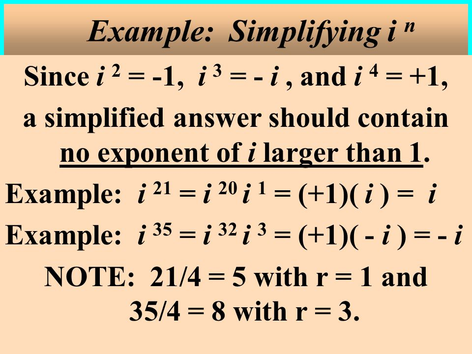 Example: Simplifying i n