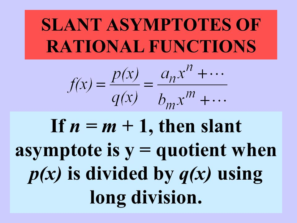 SLANT ASYMPTOTES OF RATIONAL FUNCTIONS