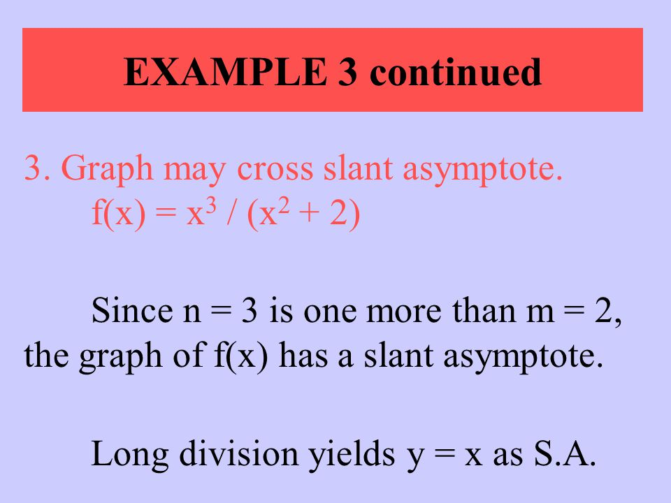 EXAMPLE 3 continued 3. Graph may cross slant asymptote. f(x) = x3 / (x2 + 2)