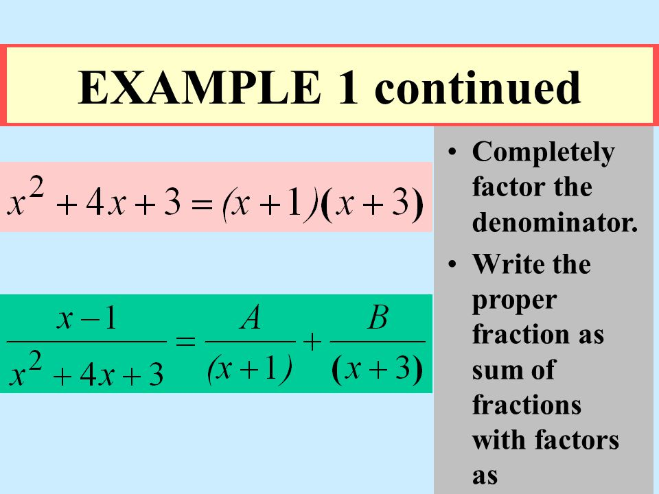 EXAMPLE 1 continued Completely factor the denominator.