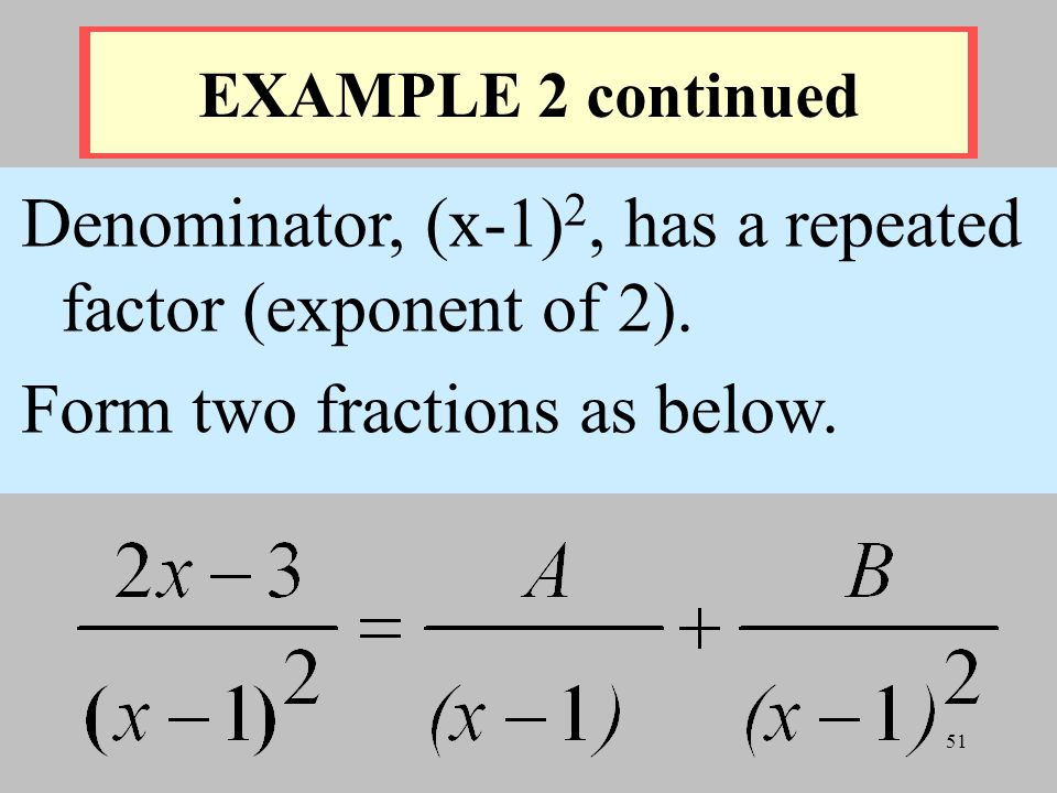 Denominator, (x-1)2, has a repeated factor (exponent of 2).