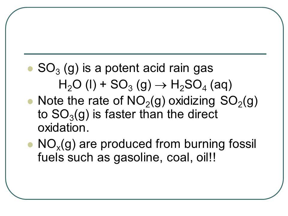 SO3 (g) is a potent acid rain gas