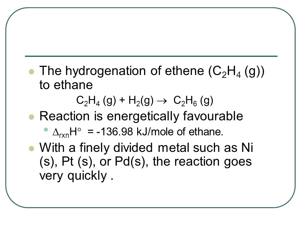 The hydrogenation of ethene (C2H4 (g)) to ethane