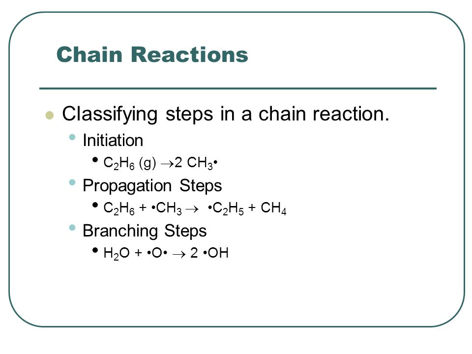 Chain Reactions Classifying steps in a chain reaction. Initiation