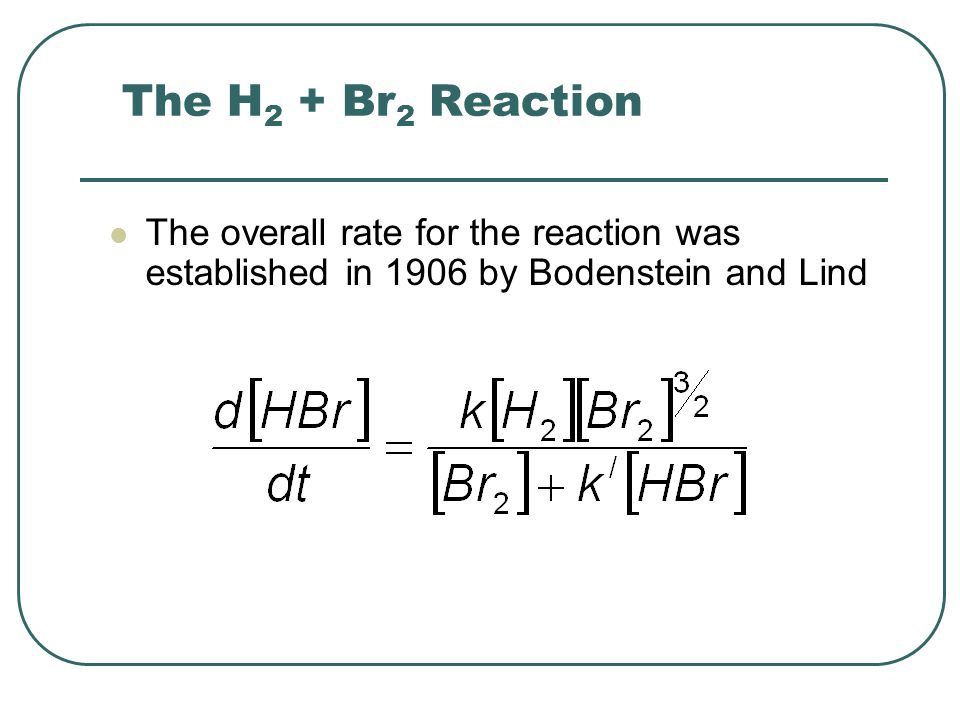 The H2 + Br2 Reaction The overall rate for the reaction was established in 1906 by Bodenstein and Lind.