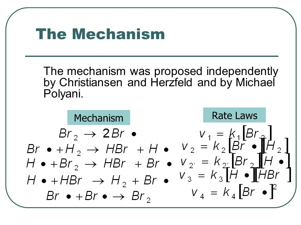 The Mechanism The mechanism was proposed independently by Christiansen and Herzfeld and by Michael Polyani.