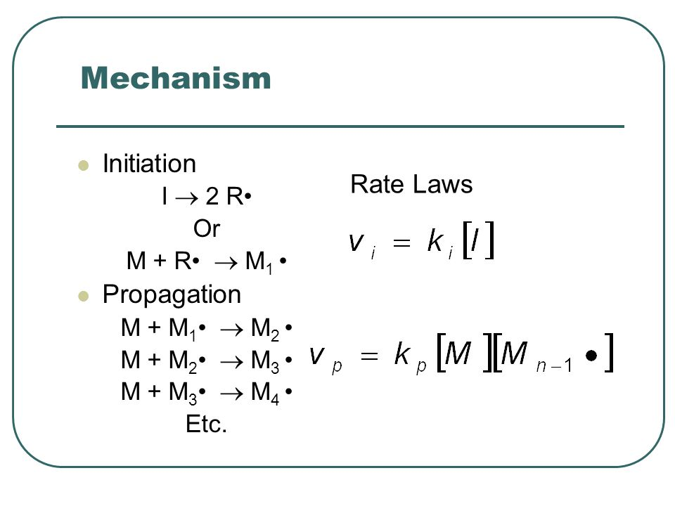 Mechanism Initiation Rate Laws Propagation I  2 R• Or M + R•  M1 •