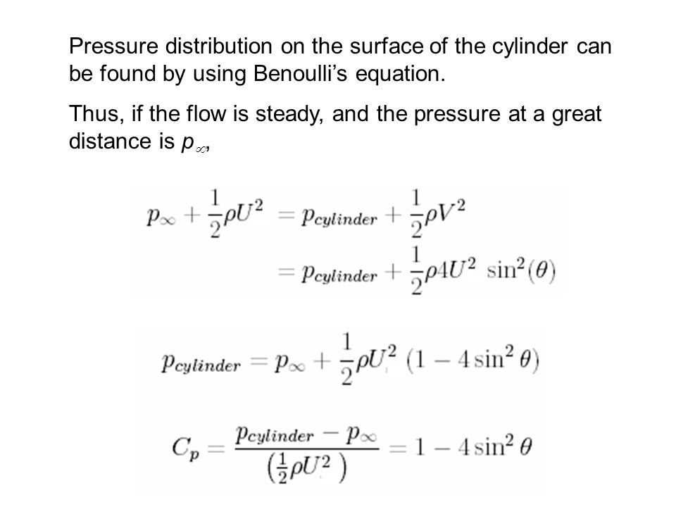 Pressure distribution on the surface of the cylinder can be found by using Benoulli's equation.