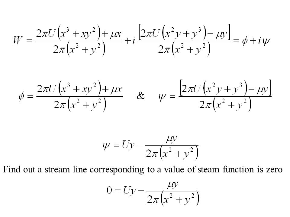 Find out a stream line corresponding to a value of steam function is zero