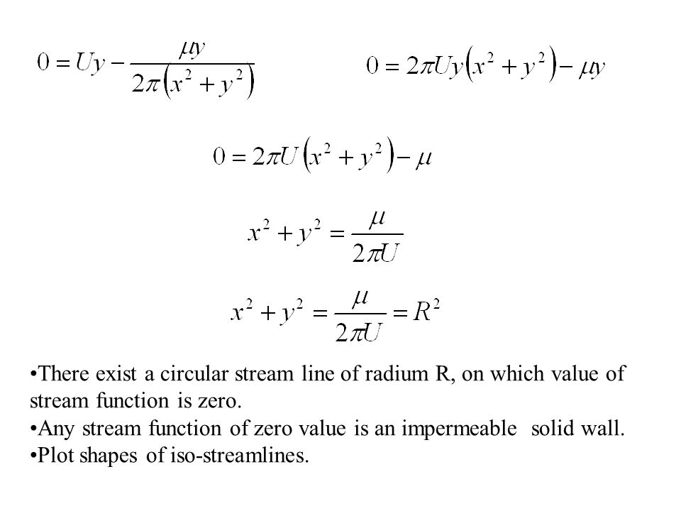 There exist a circular stream line of radium R, on which value of stream function is zero.