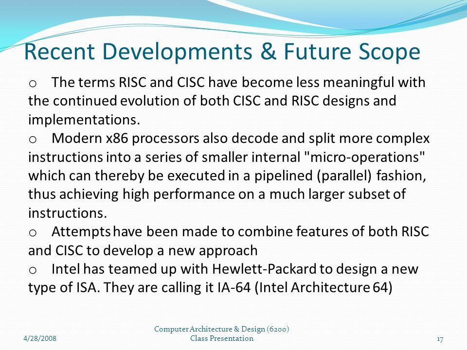 Recent Developments & Future Scope