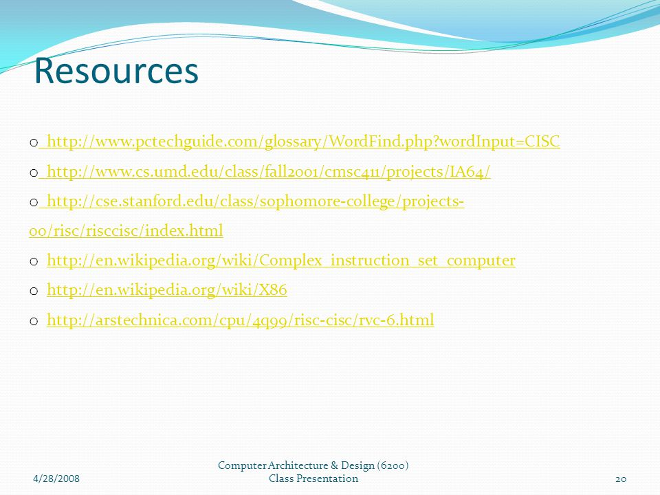 Computer Architecture & Design (6200) Class Presentation